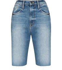 frame le vintage bermuda distressed denim shorts - blue