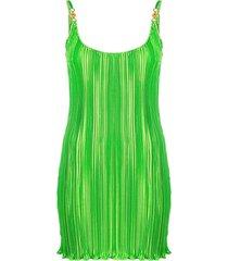 pleated mini dress, green
