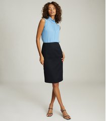 reiss hayes - tailored pencil skirt in navy, womens, size 12