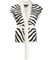 alanui zebra embroidered knit gilet - white