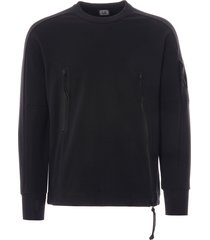 cp company diagonal fleece asymmetrical zip sweatshirt - black - 009a516-999
