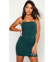 crepe square neck bodycon dress, bottle green
