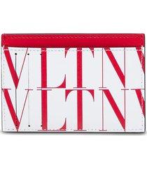 valentino garavani vltn card holder in white and red leather