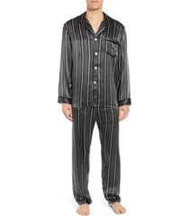 men's majestic international fresh ink stripe silk pajama set, size large - black