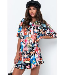 akira yeah i got issues short sleeve magazine print mini dress