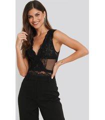 na-kd lingerie dotted mesh lace bodysuit - black