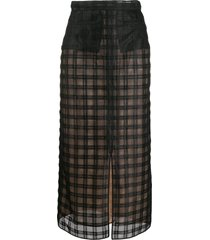 marco de vincenzo sheer check tulle skirt - black