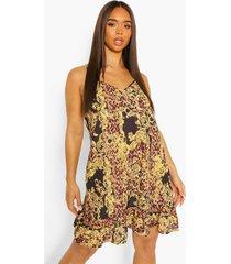 sjaal print mini jurk met losvallende zoom, brown