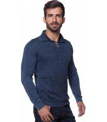 camisa polo retrô le tisserand azul stone