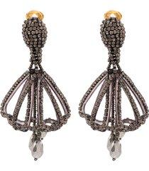 oscar de la renta gold-tone crystal drop earrings - black