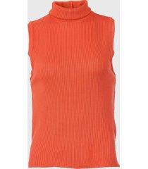 regata mercatto tricot gola rol㪠laranja - laranja - feminino - acrãlico - dafiti