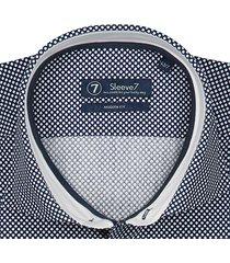 sleeve7 heren overhemd navy stip poplin