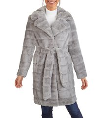 women's kenneth cole new york grooved faux fur belted coat, size medium - grey