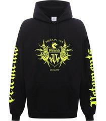 black label logo hoodie black and neon yellow