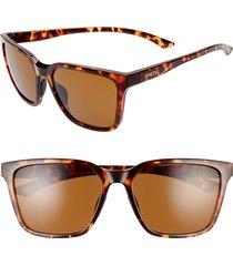 women's smith shoutout 57mm chromapop(tm) polarized square sunglasses - dark tortoise/ brown