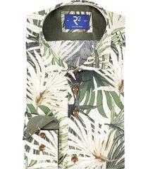 r2 hemd met print groen widespread boord