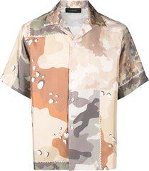 amiri camouflage-print silk shirt - neutrals