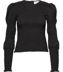 mazzigz ls blouse ms21 blouse lange mouwen zwart gestuz