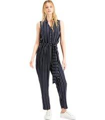 bar iii striped sleeveless jumpsuit, created for macy's