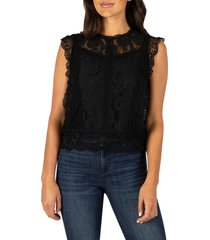 women's kut from the kloth stella sleeveless cotton blend lace top, size medium regular - black