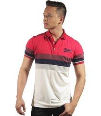 camiseta polo hombre manga corta slim fit rojo marfil lines