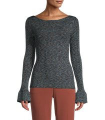 theory women's boatneck ribbed sweater - black multi - size m