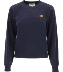 kenzo cotton sweater tiger crest patch