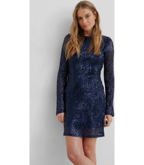 na-kd party sequin round neck mini dress - blue