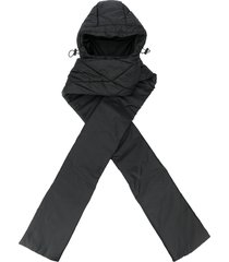 jordan luca hooded drawstring scarf - black