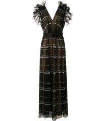tadashi shoji cape sleeveless pleated paillettes gown - black