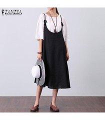 zanzea fiesta de verano para mujer vestido de chaleco con tiras y una línea larga vestido de verano kaftan -negro