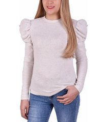 ny collection petite embellished puff-sleeve top