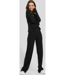 na-kd basic soft ribbed wide basic pants - black