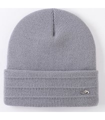 berretto a maglia per uomo con cappuccio lavorato a maglia solido invernale caldo da uomo