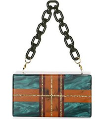 jean plaid acrylic clutch