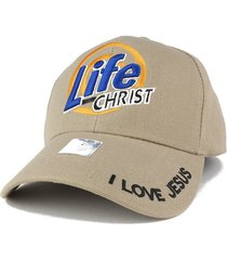 life with christ embroidered christian theme adjustable baseball cap - khaki