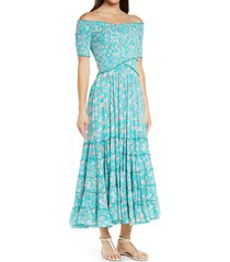 poupette st barth poupette st. barth soledad floral off the shoulder cover-up dress, size small in duck green clary at nordstrom