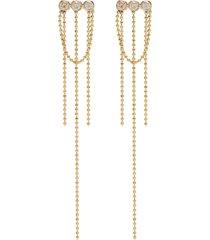 elements' diamond 14k gold bead chain earrings