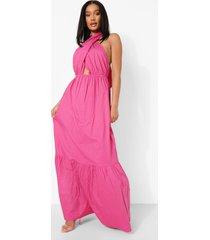 katoenen wikkel maxi jurk met halter neck en losvallende zoom, pink