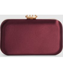 reiss nina - satin box clutch in plum, womens