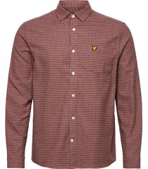 brushed cotton tweed check shirt overhemd casual oranje lyle & scott