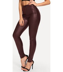 piel sintética burdeos cintura alta pantalones