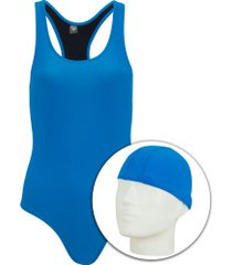 maiô para natação com touca oxer medley - adulto - azul