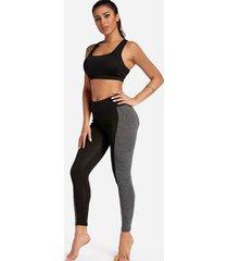 leggings deportivos de cintura media negros y grises