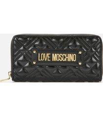 love moschino women's quilted zip around wallet - black