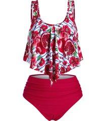plus size floral pomegranate print overlay tankini swimwear