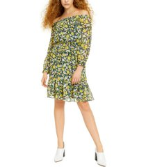 bar iii off-the-shoulder floral-print dress, created for macy's