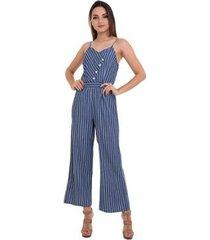 macacão jeans listras alças feminino - feminino