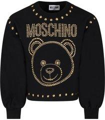 moschino black sweatshirt for girl with teddy bear