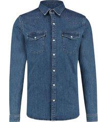 purewhite slimfit denim shirt mid blue used